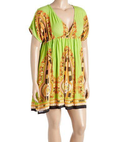 Look what I found on #zulily! Lime & Beige Geometric V-Neck Shift Dress - Plus #zulilyfinds