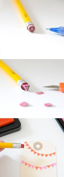 Simple little DIY stamps. I  love this design! :) you could even make stamps form the big pink erasers, too!