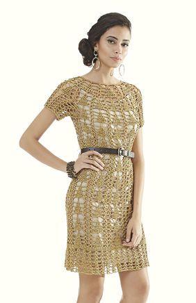 Vestido Dourado Decote Redondo
