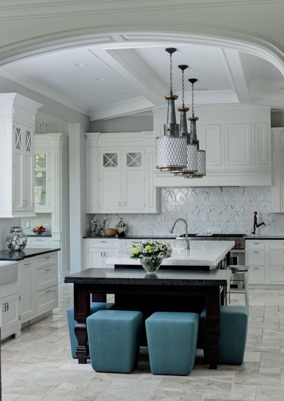 Amazing white kitchen with unique lighting island design and ...