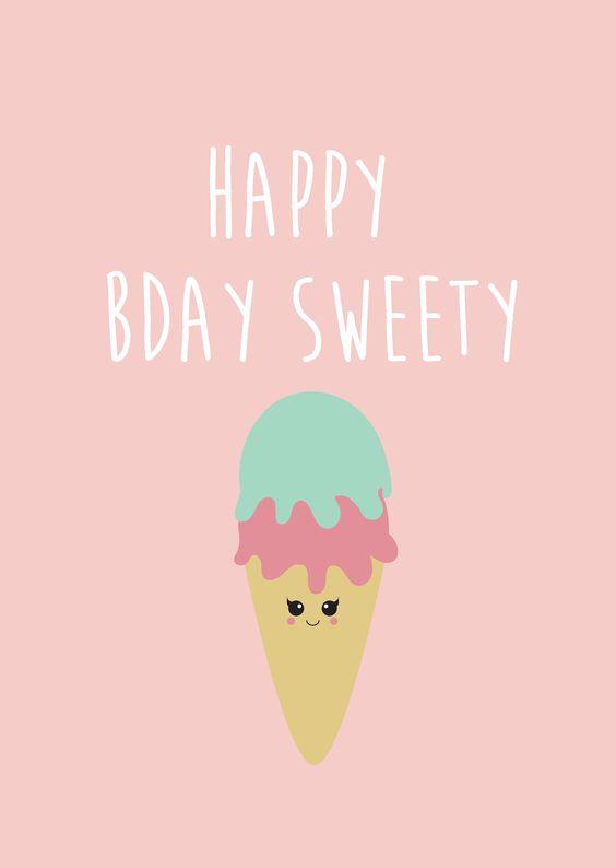 Verjaardagskaart happy Bday Verjaardagskaart happy Bday met een heel lief ijsje.  [ssba]...