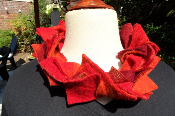 Beautiful handfelted necklace in shades of red