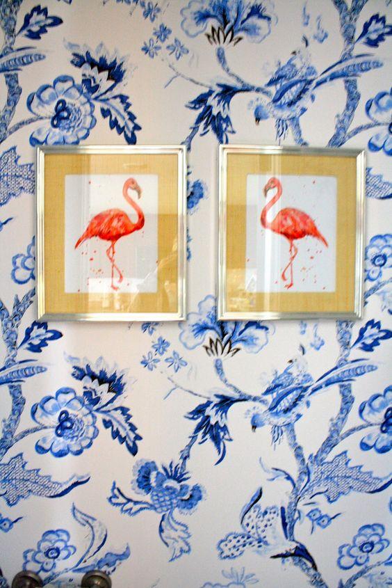 A playful mix.: Powder Room, Beach House, Wall Idea, Pink Flamingos, Flamingos Wallpaper, Flamingo Print, Blue Wallpapers, Wallpaper Flamingos