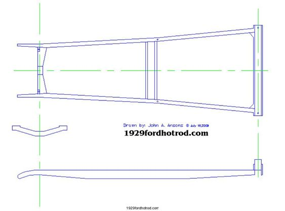 1928  31    Model    A    Ford    frame dimensions plus a measured
