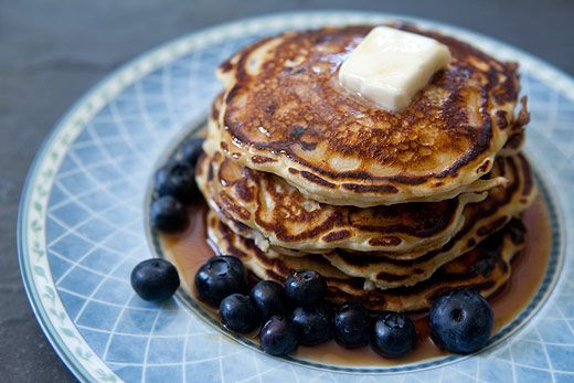 Easy, fluffy, tangy blueberry pancakes made with buttermilk.