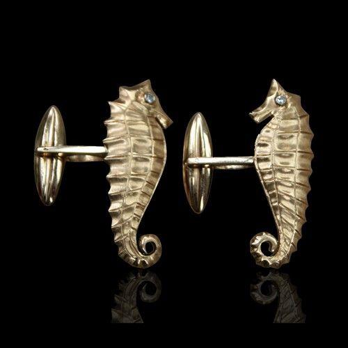 ERIC ROSEFF'S PICK - Cartier 18 carat gold seahorse with diamond eyes cufflinks - $3200.