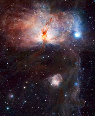 This image shows the spectacular star-forming region known as the Flame Nebula, or NGC 2024, in the constellation of Orion (the Hunter) and its surroundings. In views of this evocative object in visible light the core of the nebula is completely hidden behind obscuring dust, but in this VISTA view, taken in infrared light, the cluster of very young stars at the object's heart is revealed.