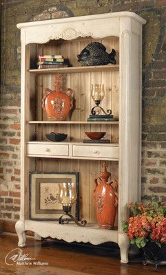 Shabby French Country Chic Beige Washed Wood Sylvianne Hutch Bookshelf Display