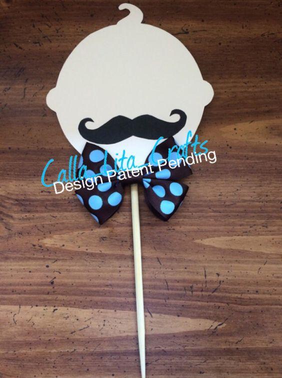 **HAND DRAWN DESIGN BY CALLA LITA**  Brown and Blue Little Man Theme set for centerpieces. babies with mustache     https://www.etsy.com/shop/CallaLitaCraftShop  https://instagram.com/calla_lita_crafts/