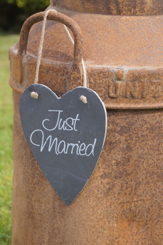 Slate Just Married Heart