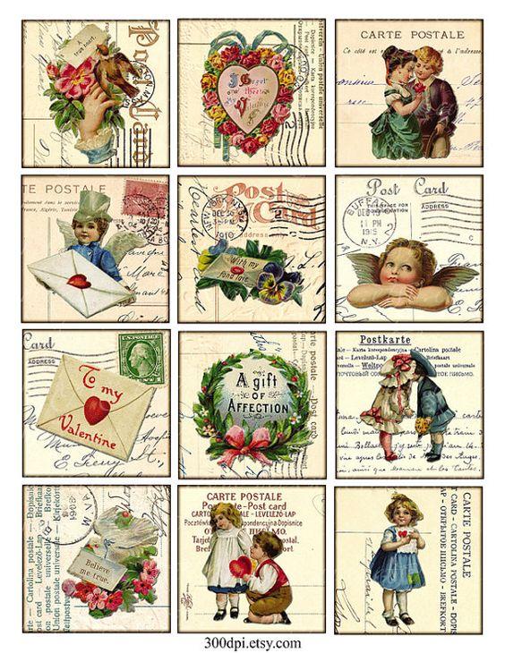 Vintage Printable Tags Digital Collage Sheet  valentine by 300dpi, $3.00
