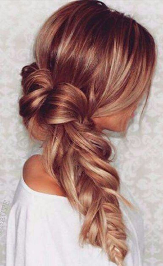 13 Red Hairstyles On Fire This Fall | Loose Side Fishtail | Hairstyleonpoint.com