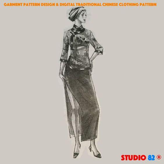 Digitalen Cheongsam Pattern(Blouse + Skirt), mittlere Durchführungen, Mandarin Stehkragen, schräg Jin, Low-Öffnungen, Internetadresse XL  XXL  XXXL
