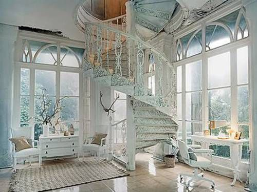 intricate staircase.: Window, Stair Case, Dream Homes, Dream House, Living Room, Spiral Stairs, Spiral Staircases, Fairytale