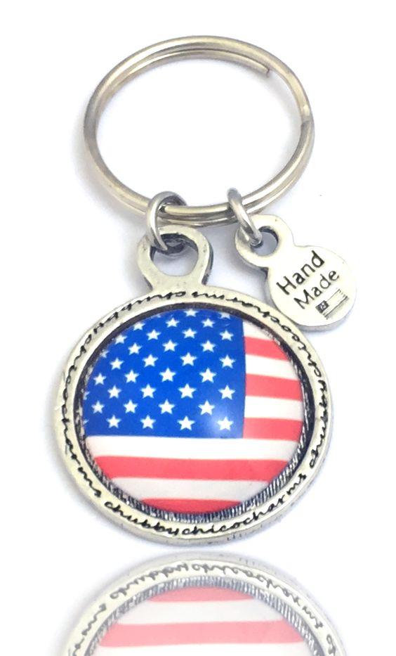 American Flag Framed Resin Key Chain