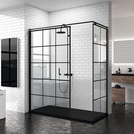 Ensemble parois de douche combi douche Atelier Noir