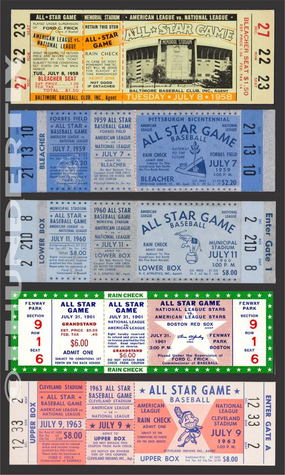 5 1958 1963 Baseball All Star Game Vintage Unused Full Tickets 58 59 60 61 63 Baseball Ticket Game Tickets All Star