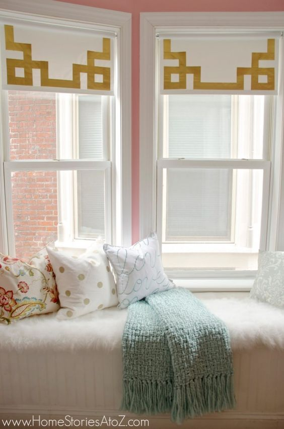Incredibly affordable way to dress a window! How to Make Greek Key Shades {with duck tape}