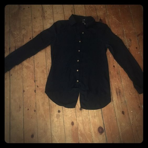 "Black blouse Simple but will match with everything. Length from the back: 28"".  Length in front: 23"" Forever 21 Tops Blouses"