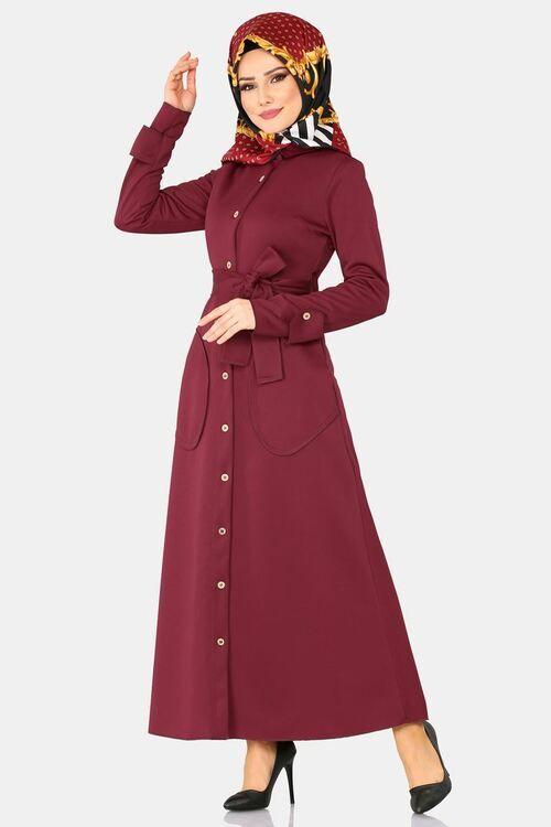Modaselvim Elbise Dugmeli Elbise Ferace 113 5mc359 Bordo Model Pakaian Muslim Model Pakaian Pakaian