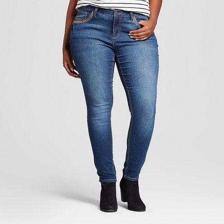 Women's Plus Size Copper Border Stud Patch Pocket Skinny Jean Dark Wash - Earl…