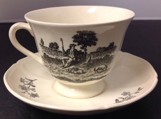 Wedgwood Collectors Society Etruria Barlaston Pastoral Scene Teacup  #Wedgwood