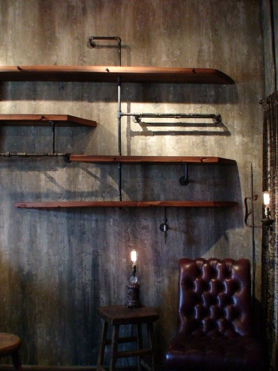 metal piping, reclaimed wood, concrete. For my garage