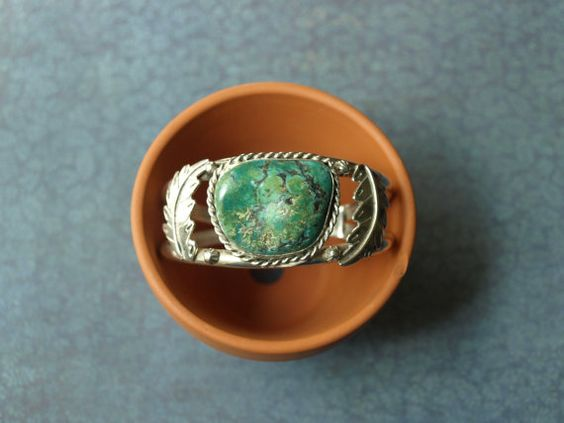 Mexican Silver Turquoise Cuff Bracelet by oldiesandgoodiesCA, $295.00