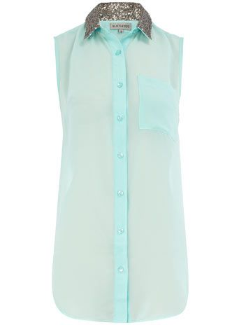 turquoise sequin collar shirt / dorothy perkins