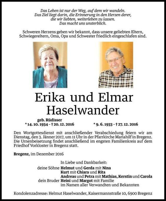 Todesanzeige für Erika und Elmar Haselwander vom 30.12.2016 - VN Todesanzeigen