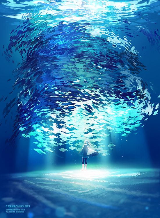 Anime art. Ocean. Under the ocean. Standing. Surrounded by fish. Awesome. Mind blowing. Cool. Blue. Light.