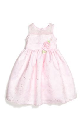 Sweet Heart Rose  Floral Embroidered Overlay Flower Girl Dress Girls 4