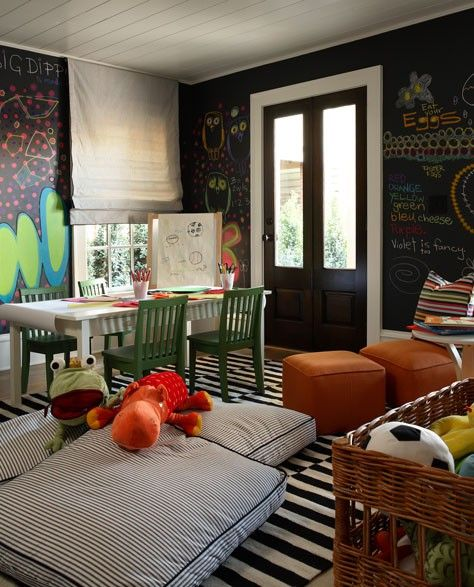 Goodbye dining room hello playroom awesome for kids and chalk board - Dining room play ...