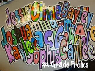 Make in powerpoint using Wordart. The font is grobold. Put one per page and blow them up to take up the whole page. Use the wordart that is outline only so it will be blank in the middle. Once you have the name typed and on the page, you can format (or it might say edit) the wordart....that's where you can make the outline thicker.