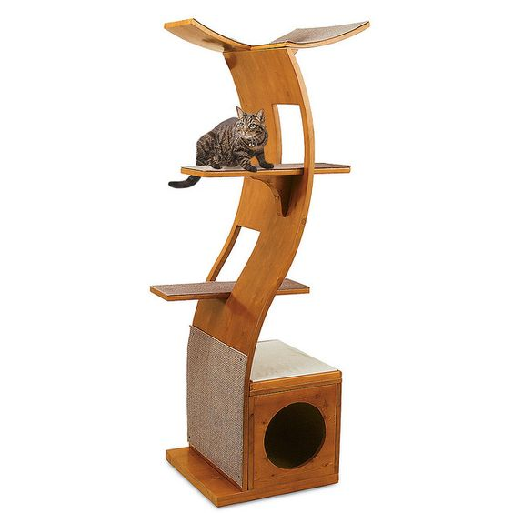 Lotus Cat Tower. We love this for its uber style, but it also looks easy to clean =^.^=