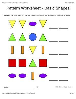 Pattern worksheets for kids - colored basic shapes, 1-2 pattern ...
