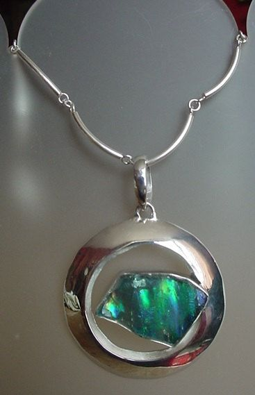 Turquoise Green Color Roman Glass Removable Sterling by camexinc, $45.00