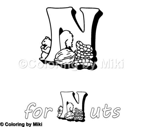 Alphabets N For Nuts Coloring Page 106 Coloring Design ぬりえ