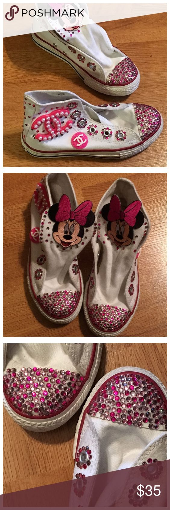Mouse Theme Converse High Top Sneakers Bling white converse high top. Minnie patch on the tongue of the tennis shoes. Very cute and fun. Only worn once maybe for a couple of hours. No shoestring. Size 13 girl. Missing a few stones as shown in the picture. Converse Shoes Sneakers