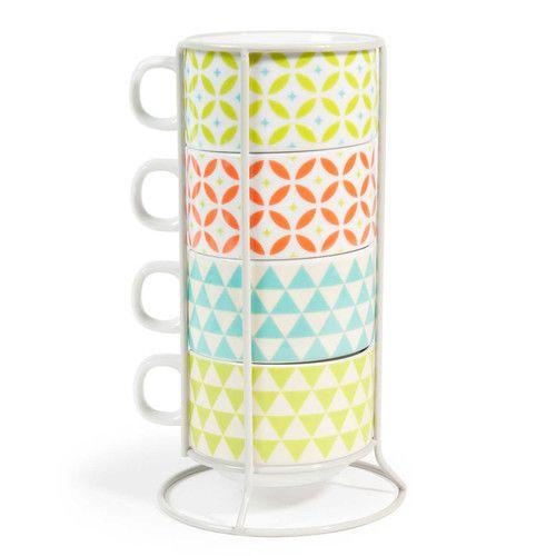 4 tazas de porcelana + soporte de colores MATILDA