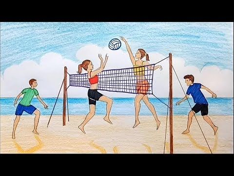 How To Draw Scenery Of Girls And Boys Playing Volleyball On The Beach Youtube Children Sketch Scenery Drawing For Kids Beach Drawing