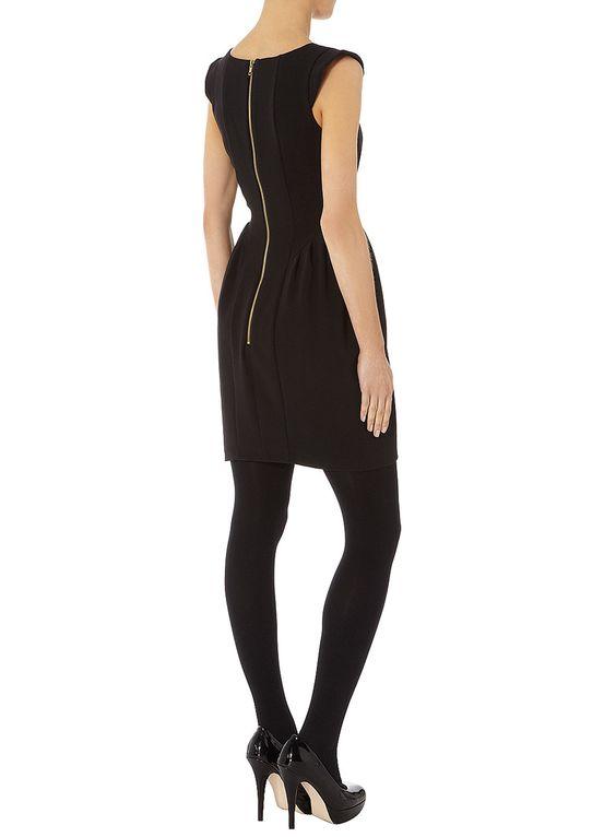 Black tulip pleated dress