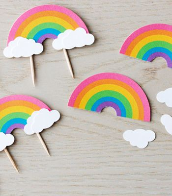 DIY Cupcake Toppers   Over the Rainbow Cupcake Toppers   Confetti Pop