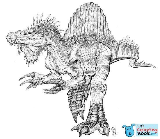 Spinosaurus Theropod Dinosaur Coloring Page Realistic Pages 2 With