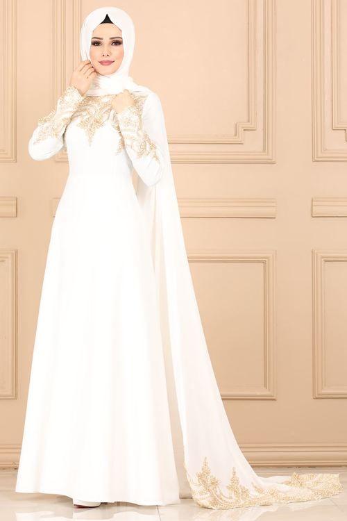 Modaselvim Abiye Sifon Pelerinli Gupurlu Abiye 5147ay342 Ekru The Dress Moda Gelinlik