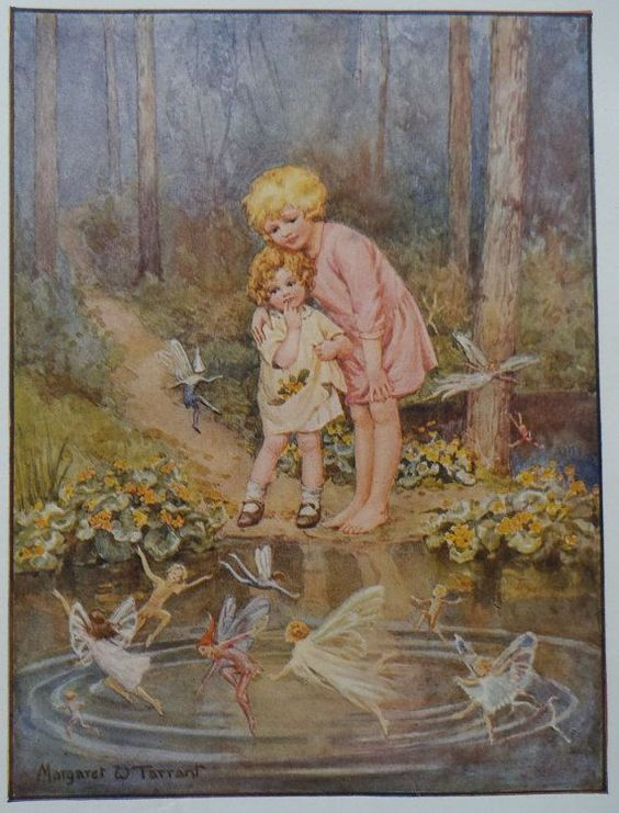 MARGARET TARRANT The Magic Pool Original Vintage Children's Print 1927 - 87 year old - Matted - Ready to Frame