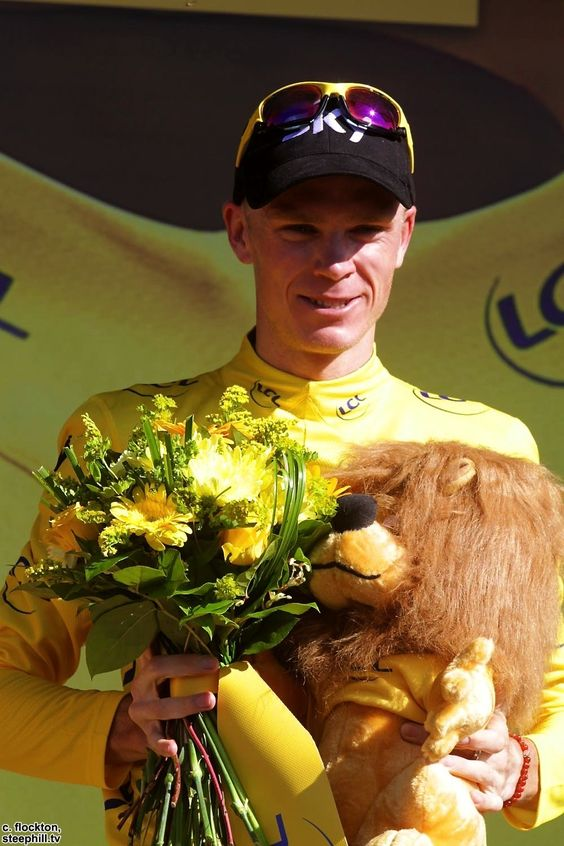 TDF 2013 stage 20.  Chris Froome looks really happy on the podium in Annecy Semnoz.