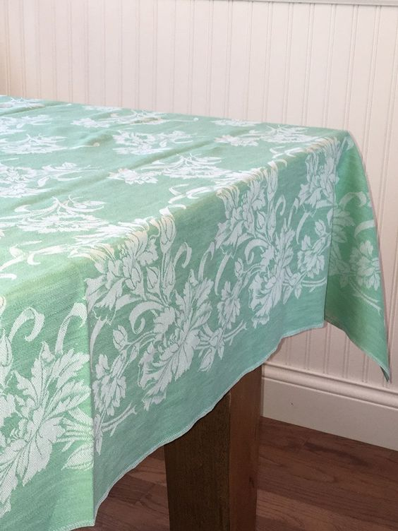 Damask Tablecloth, Green Cotton Damask Tablecloth, White On Green Damask,  Carnation Flowers By SensibleBeauty On Etsy | Lace And Linens | Pinterest |  Damask ...