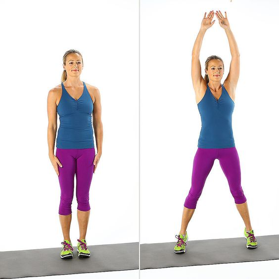 Jumping Jacks: Add a punch between each jumping jack for extra cardio. Perform for 45 seconds, then rest for 15 seconds.