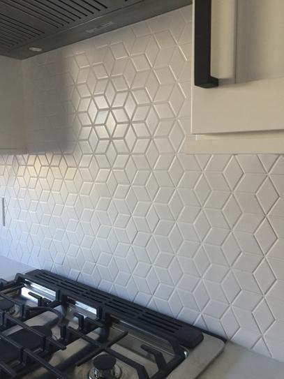 Image Result For White Rhombus Tile White Tile Backsplash Kitchen Backsplash Designs New Kitchen Cabinets
